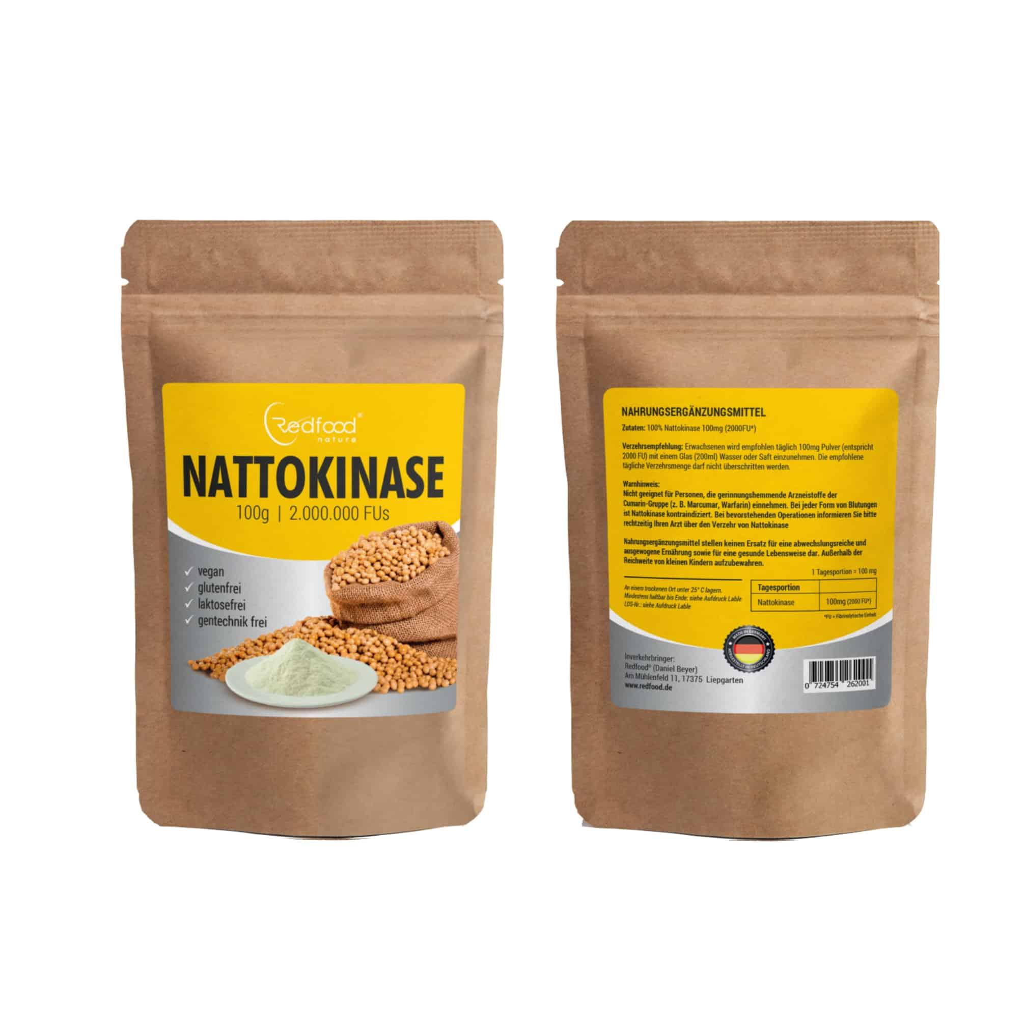 Redfood24 Nattokinase Pulver 100g Packung 00023